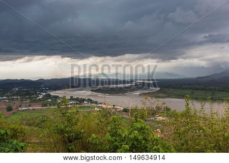 Chiang Saen, Thailand. Beautiful View Of Mekong River From The Temple Hill. The Golden Triangle Area