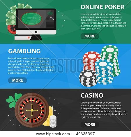 Vector flat horizontal banners of online poker and casino for website. Business concept of gambling market and games of chance.