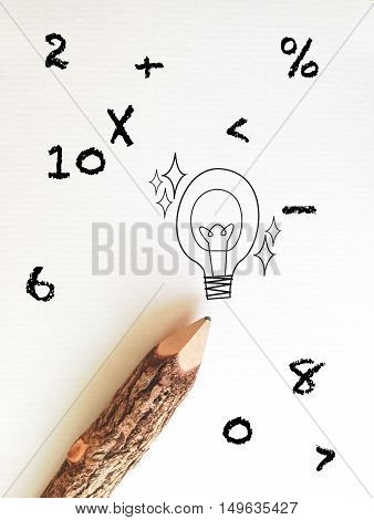 concept idea for back to school wording on white note paper with pencil and mathematics symbol