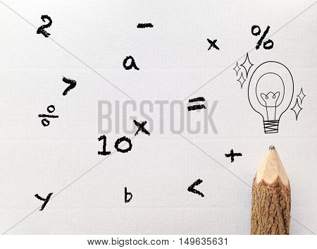 concept idea for back to school wording on white note paper with pencil and matthematic symbol