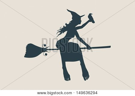 Vector illustration of flying young witch icon. Witch and raven silhouettes on a broomstick. Halloween relative image