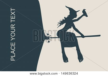 Vector illustration of flying young witch icon. Witch and raven silhouettes on a broomstick. Field for text. Halloween relative image