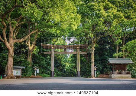 Entrance at Meiji-jingu temple in Central Tokyo Japan.