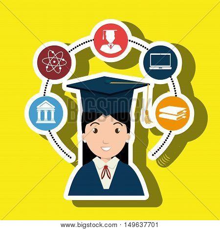 woman graduation college student vector illustration eps 10