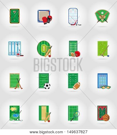 ccourt playground stadium and field for sports games flat icons vector illustration isolated on background