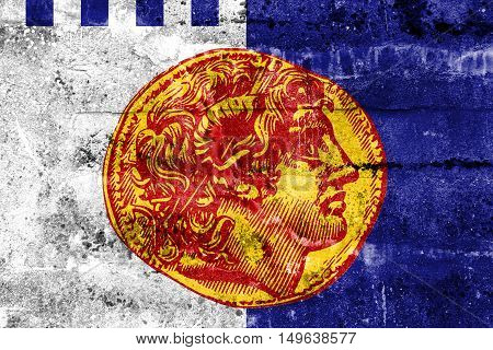 Flag Of Thessaloniki, Greece, Painted On Dirty Wall