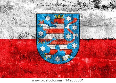 Flag Of Thuringia With Coat Of Arms, Germany, Painted On Dirty Wall