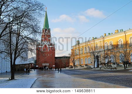 MOSCOW - JANUARY 01, 2016: Moscow Kremlin. UNESCO World Heritage Site. Color photo.