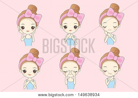 cartoon skin care woman take care her face great for your design