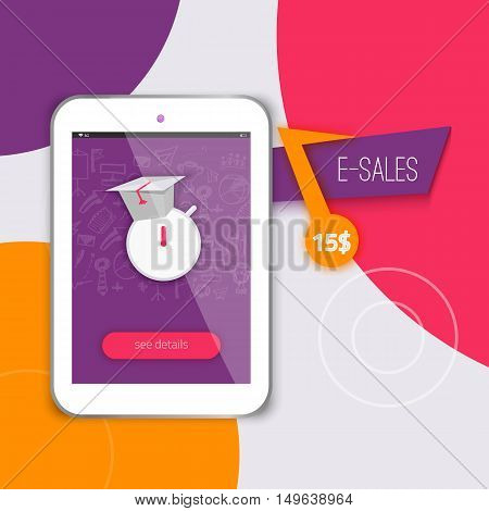 E-learning concept application with tablet. Colorful e-learning background for sites, banners