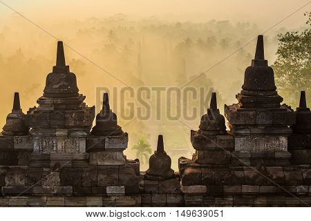 Borobudur is a 9th-century Mahayana Buddhist Temple in Magelang, Central Java, Indonesia.