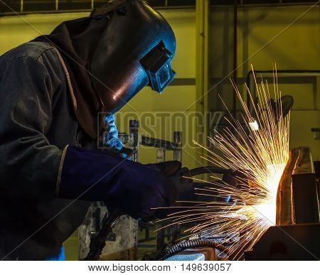 welding work in Industrial automotive part in car production factory