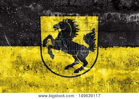 Flag Of Stuttgart With Coat Of Arms, Germany, Painted On Dirty Wall