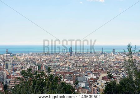 Landscape of Barcelona from guell park, Spain
