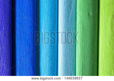 Colourful crape papers - cold colours from violet to blue to green.