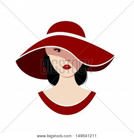 Beautiful woman in a red hat on a white background. Isolated vector illustration.