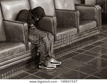 December 3rd,2013 Los Angeles California Homeless man asleep at the train station