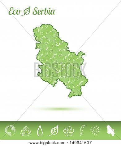 Serbia Eco Map Filled With Green Pattern. Green Counrty Map With Ecology Concept Design Elements. Ve