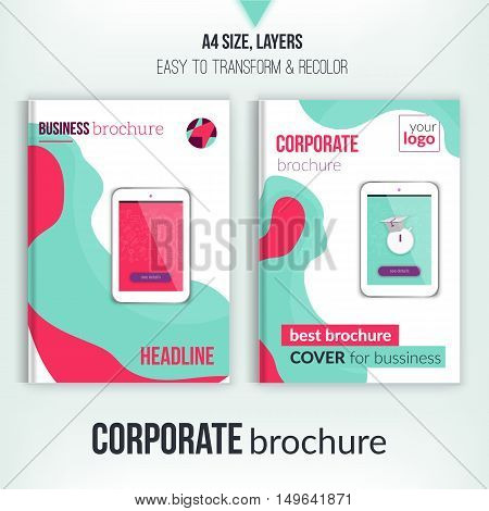 Green brochure cover template with abstract shapes and tablet. Corporate identity. Business design, flyer, professional.