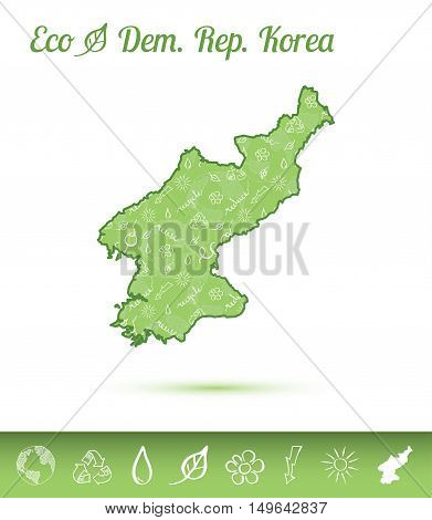 Korea, Democratic People's Republic Of Eco Map Filled With Green Pattern. Green Counrty Map With Eco