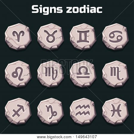 Signs of the zodiac on the old stones in vector
