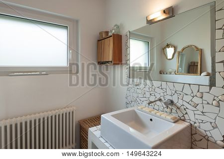 Interior, bathroom of apartment, modern sink