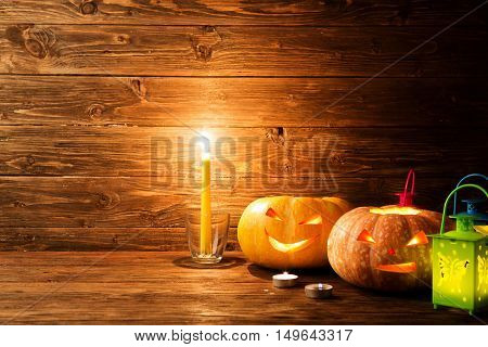 Scary Halloween Pumpkins Jack-o-lantern On Wooden Background