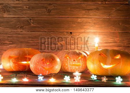 Halloween Pumpkin Head Jack Lantern On Wooden Background