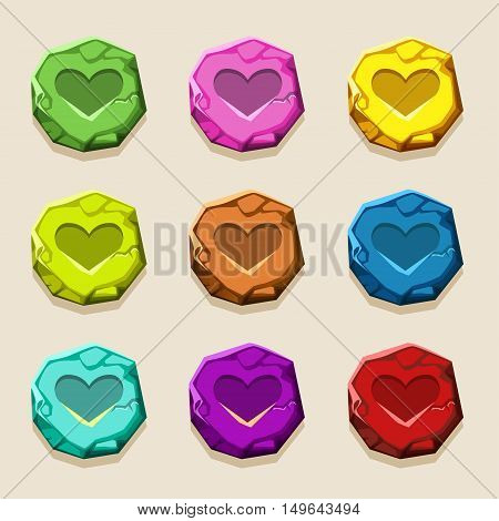 colors stone buttons, ancient amulet in vectors