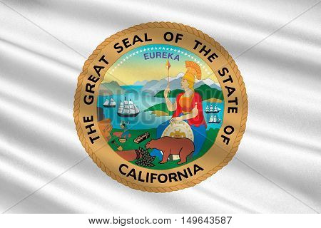 Flag of California is the most populous state in United States. 3D illustration