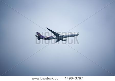 CHIANGMAI THAILAND - SEPTEMBER 1 2016: HS-TBC Airbus A330-300 of Thaiairway TG612. Take off from Chiangmai airport to Kunming.