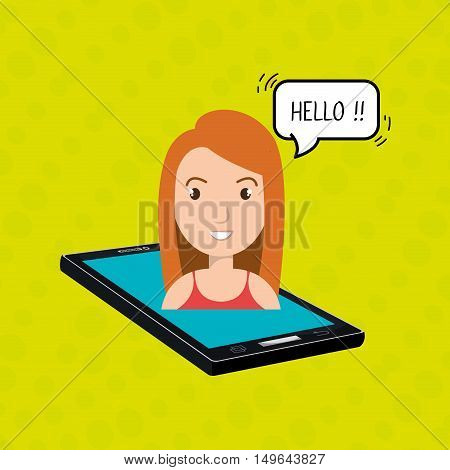 cellphone woman speech speak vector illustration eps 10