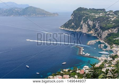 Capri, Italy - June 10: Capri Island On June 10, 2016 In Capri, Italy. Typical Summer Day On Capri I