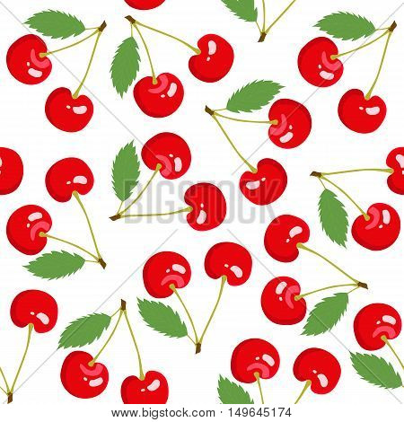 Seamless pattern with cherry. Cherry background. Vector illustration