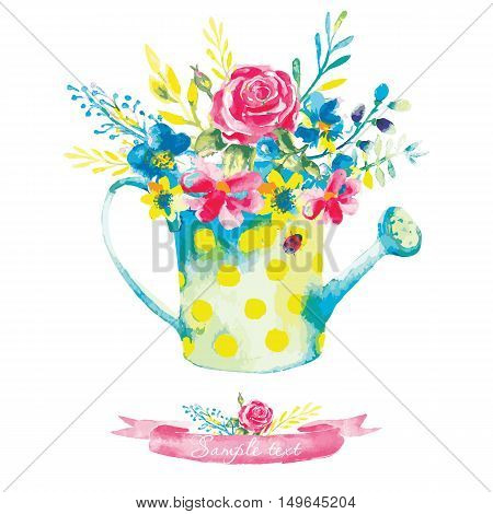 Invitation vintage card with watercolor elements. Flowers in a watering can. Hand painting, gentle flowers. Vector illustration