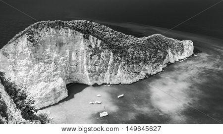 Monochrome Landscape Navagio Beach