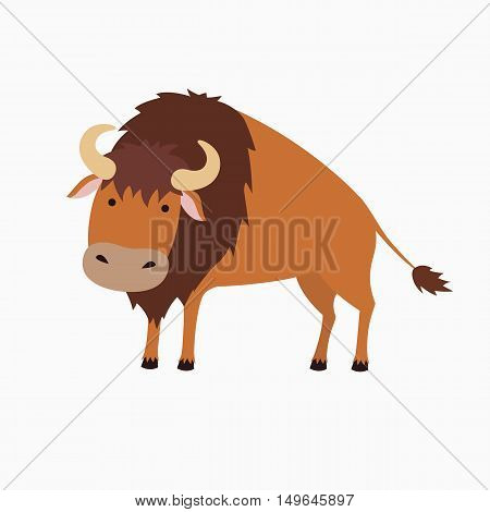 Cute bison cartoon. Illustration for children. Isolated on white background