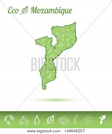 Mozambique Eco Map Filled With Green Pattern. Green Counrty Map With Ecology Concept Design Elements