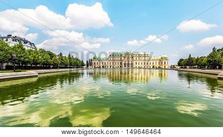 Upper Belvedere Palace  With Reflection. Vienna, Austria.