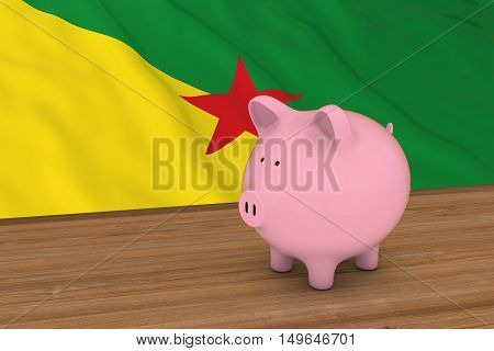 French Guiana Finance Concept - Piggybank In Front Of French Guianese Flag 3D Illustration