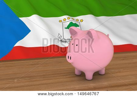 Equatorial Guinea Finance Concept - Piggybank In Front Of Equatorial Guinean Flag 3D Illustration