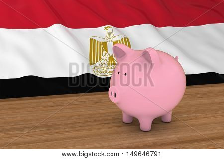 Egypt Finance Concept - Piggybank In Front Of Egyptian Flag 3D Illustration