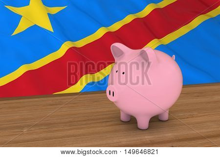 Dr Congo Finance Concept - Piggybank In Front Of Congolese Flag 3D Illustration