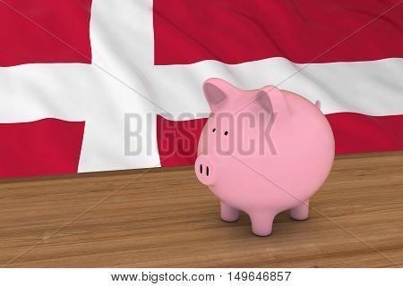 Greenland Finance Concept - Piggybank In Front Of Greenlandic Flag 3D Illustration