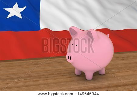 Chile Finance Concept - Piggybank In Front Of Chilean Flag 3D Illustration