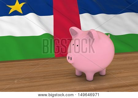 Central African Republic Finance Concept - Piggybank In Front Of Central African Flag 3D Illustratio