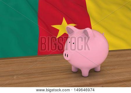 Cameroon Finance Concept - Piggybank In Front Of Cameroonian Flag 3D Illustration