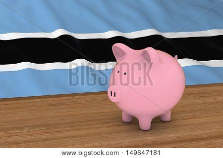 Botswana Finance Concept - Piggybank In Front Of Botswanan Flag 3D Illustration