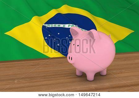 Brazil Finance Concept - Piggybank In Front Of Brazilian Flag 3D Illustration