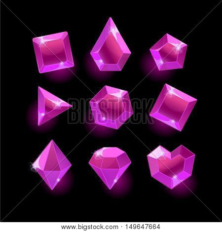 Set of cartoon purple, pink different shapes crystal, gemstones, gems, diamonds vector gui assets collection for game design.isolated vector elements.Gui elements, vector games assets.menu for mobile games